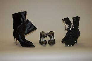 Two pairs of Manolo Blahnik boots, one knee-high pai