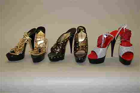 Three pairs of Dolce and Gabbana elevated platforms