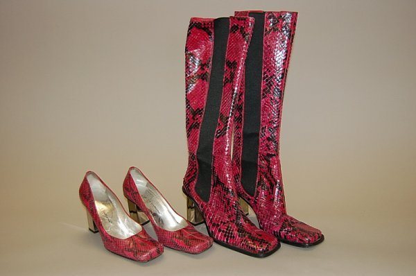 8: A pair of bright pink Dolce and Gabbana snakeskin bo