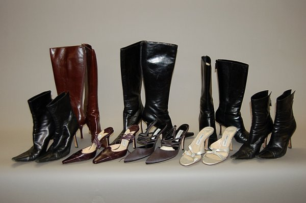 11: A group of Jimmy Choo footwear, comprising: five pa
