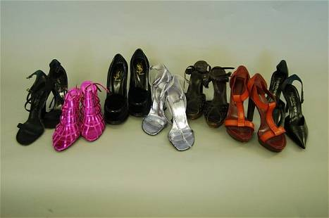 Seven pairs of Yves Saint Laurent shoes, including