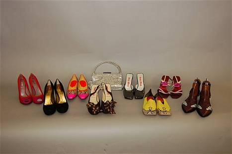 Eight pairs of Miu Miu shoes, including: pink and r