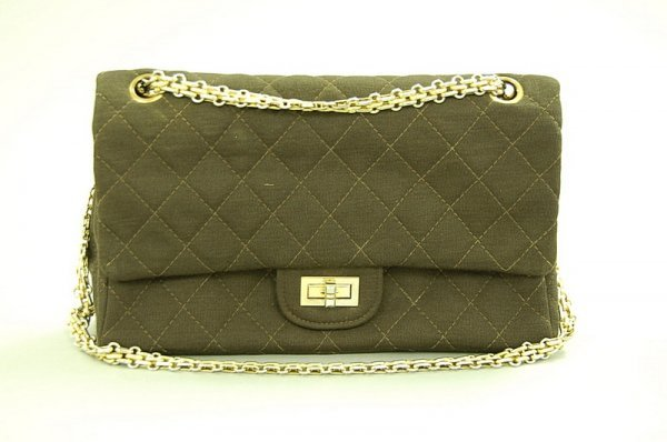 5: A Chanel brown jersey quilted bag, 1960s, with gilt