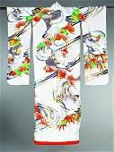 105: A Japanese wedding kimono, modern, of white silk c