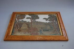 1005: A woolwork embroidery of a couple, fine country h