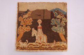 1007: A naive embroidery of a young lady on her donkey,