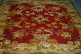 1010: A chenille table-cover, circa 1890, the red groun