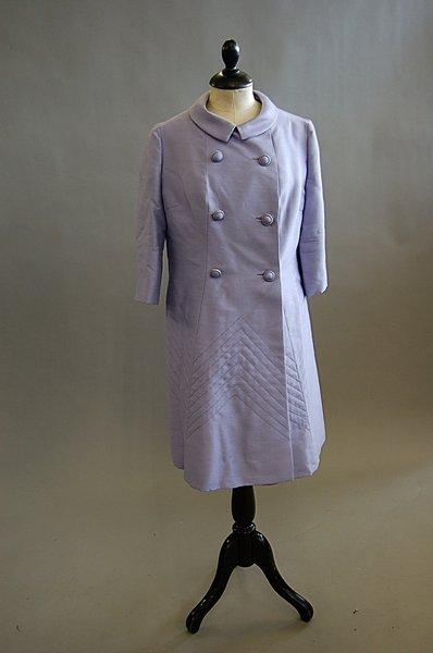 1012: A Norman Hartnell lilac silk ensemble, 1960s, lab