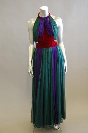 1013: An elegant Valentino purple and green chiffon eve