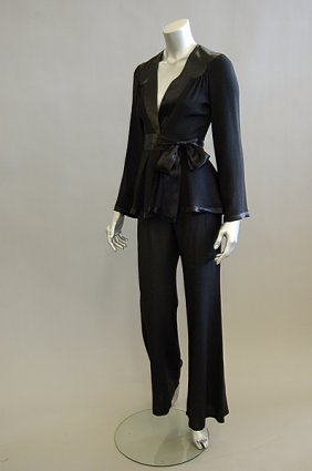 1014: An Ossie Clark black moss crepe trouser suit, 196