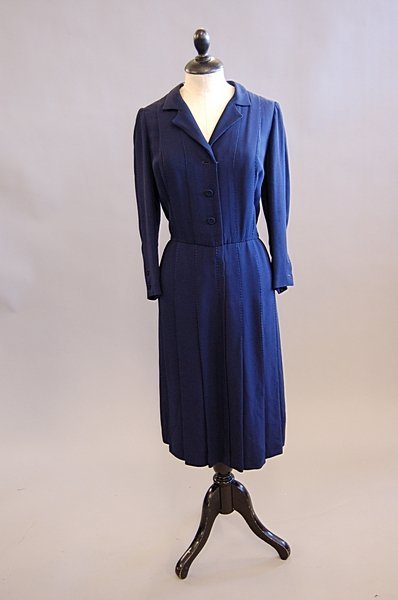 1016: A Chanel couture classic navy silk dress, 1980s,