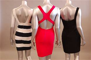 1288: Three figure hugging dresses by Herve Leger and o