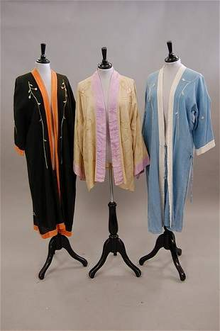 Six Japanese kimonos and embroidered Oriental-style