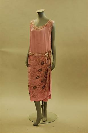 A rose-pink beaded crepe de chine cocktail dress, ci