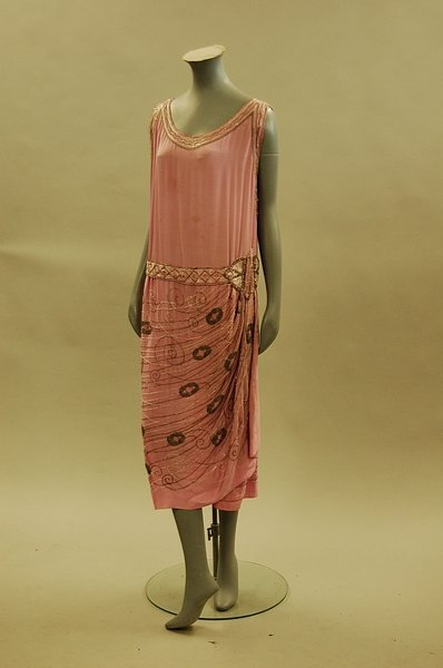 9: A rose-pink beaded crepe de chine cocktail dress, ci