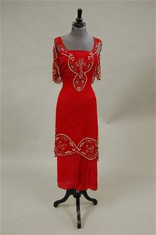 A scarlet chiffon tunic, 1920s, with associated red