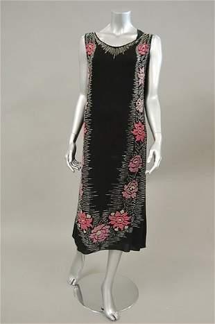 A beaded black georgette cocktail dress, circa 1925