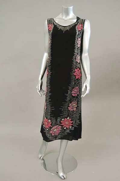 11: A beaded black georgette cocktail dress, circa 1925