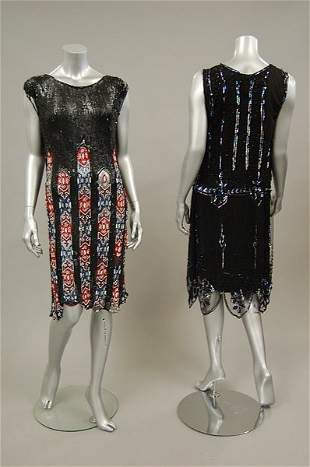 Two sequined and beaded flapper dresses, late 1920s