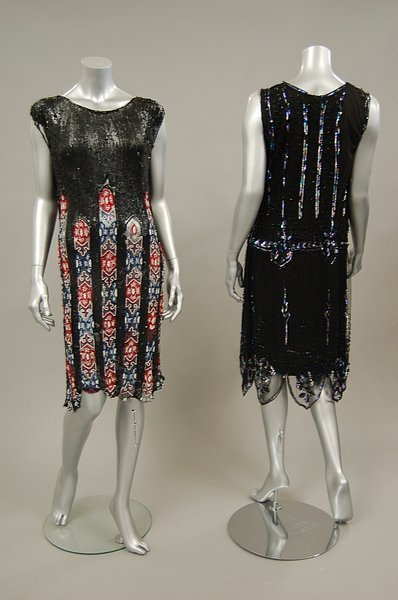 13: Two sequined and beaded flapper dresses, late 1920s