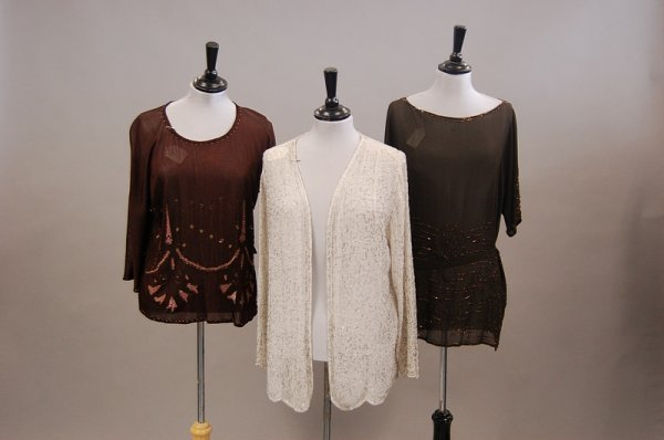 16: Three beaded jackets/bodices, 1920s, comprising bro