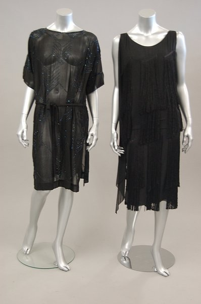 17: Two flapper dresses, late 1920s, the first of black