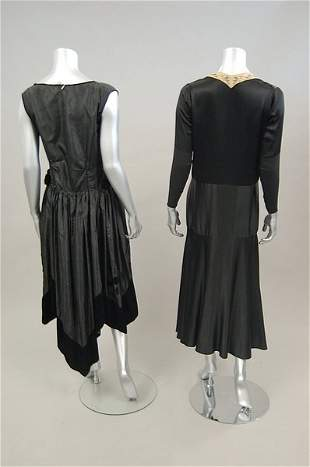 Five 1920s-early 30s dinner-cocktail dresses, inclu
