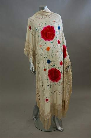 Three embroidered shawls, Chinese and Spanish, 1930