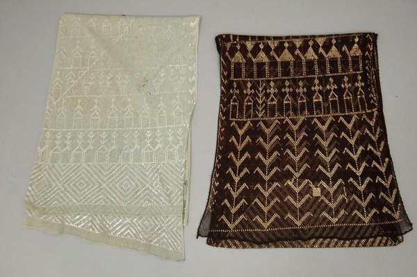 22: Two Azute stoles, Egyptian, 1920s, one of pale blue