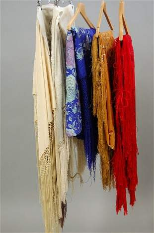 Six embroidered shawls, Spanish and Chinese, 1920s