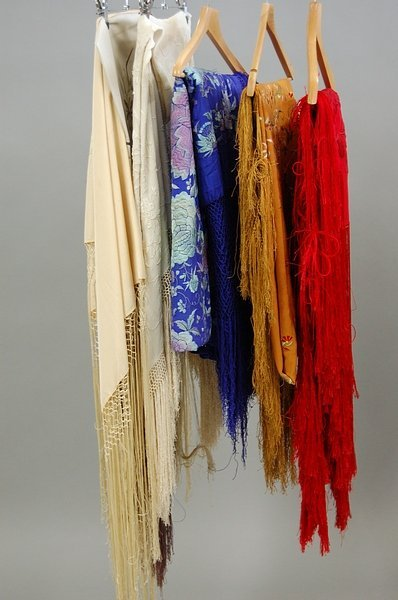 23: Six embroidered shawls, Spanish and Chinese, 1920s