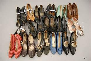 A large group of ladies footwear, 1920s-30s, approx