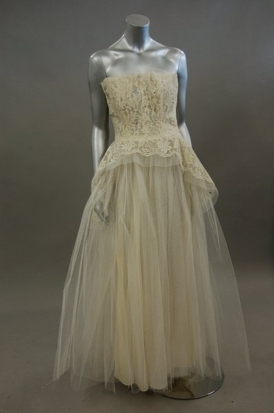 57: Four bridal gowns, 1950s-early 60s, comprising: clo