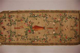 Chinese export painted silk gauze, circa 1800, th