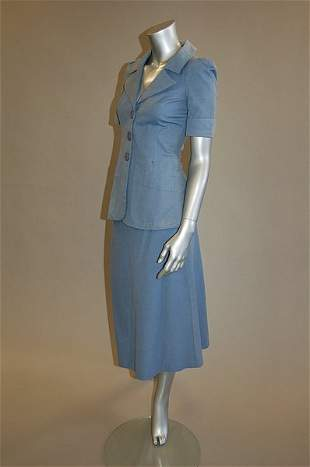 A Biba powder-blue cotton suit, early 1970s, labe