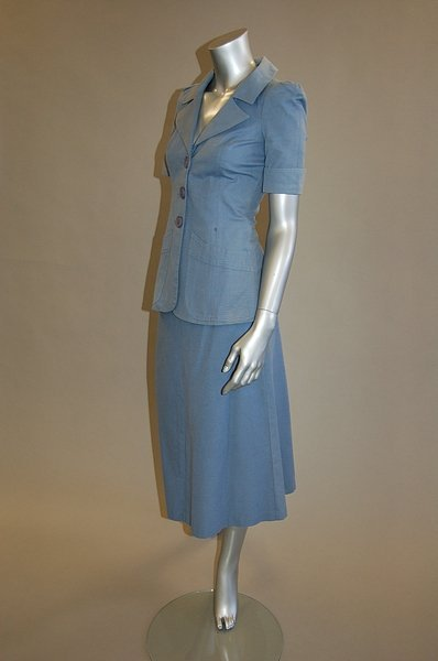 1004: A Biba powder-blue cotton suit, early 1970s, labe