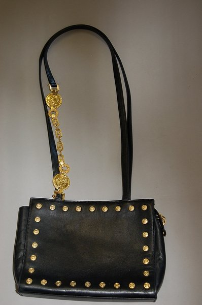 1006: A Gianni Versace couture black leather handbag, 1 - 3