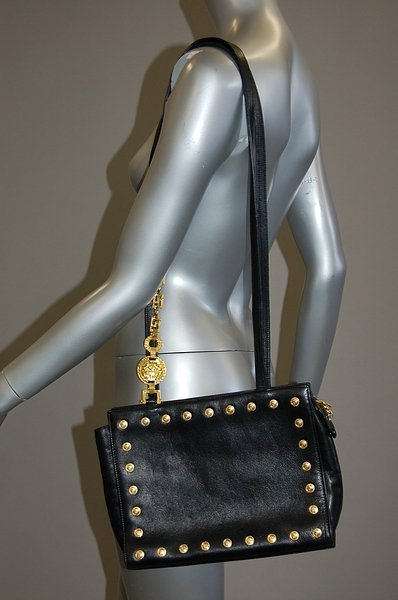 1006: A Gianni Versace couture black leather handbag, 1 - 4