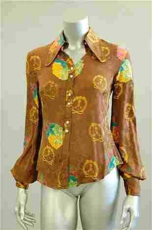 A Jeff Banks printed brown damask satin blouse, e