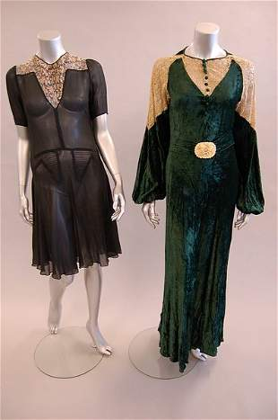 A group of ladies dresses 1930s-50s, comprising
