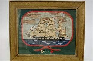 A sailor's woolwork, circa 1860, worked with a th