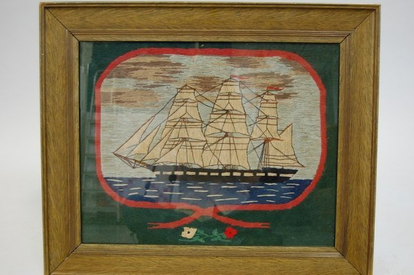 1013: A sailor's woolwork, circa 1860, worked with a th