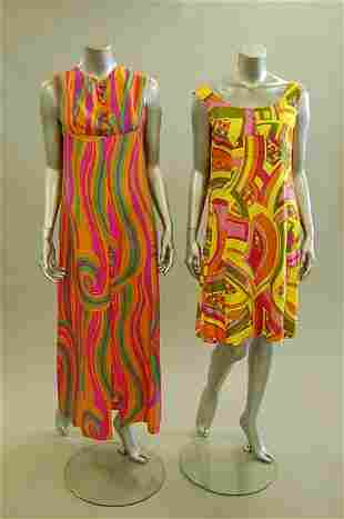 A good group of mainly psychedlic evening wear, 1