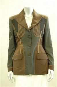 1021: A Jean Paul Gaultier black silk and brown pin-str