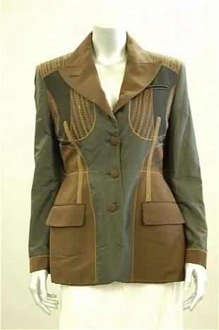 A Jean Paul Gaultier black silk and brown pin-str
