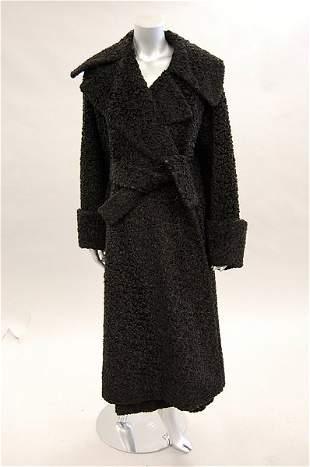 An Azzedine Alaia 50's style black faux Astrkhan