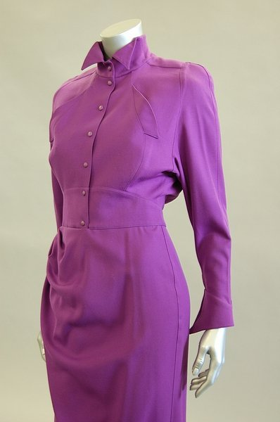 1023: A Thierry Mugler purple wool streamlined dress, l