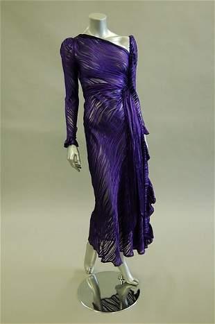 An Yves Saint Laurent Rive Gauche purple striped