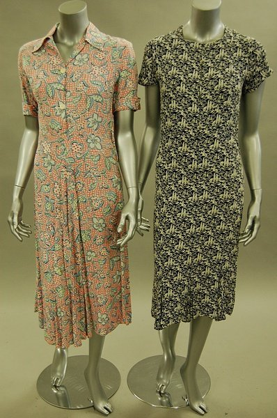 1127: Colourful day dresses, 1930s-40s, mainly floral p
