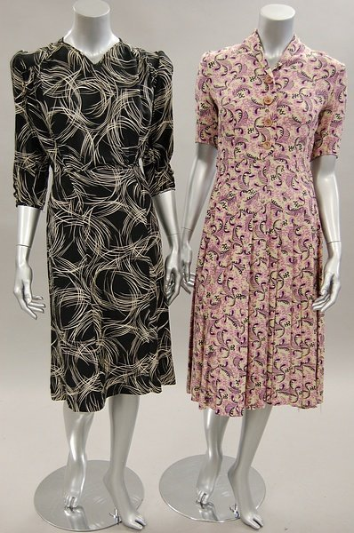 1127: Colourful day dresses, 1930s-40s, mainly floral p - 2
